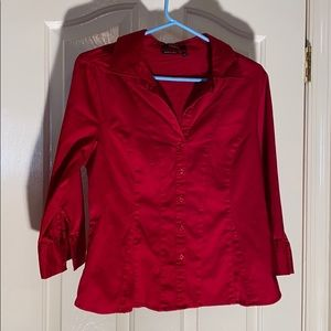 P/L Apt. 9 wine red button up front shirt